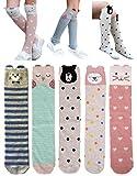 QandSweet 5 Pairs Girls Knee High Socks Cute Animal Thigh High Stockings 2-5T
