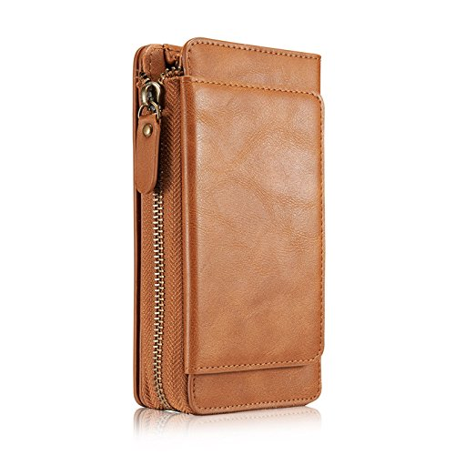 Businda iPhone XS Max Case, Multifunction PU Leather Zipper Wallet Case Card Slots Money Pocket with Kickstand Card Holder Protective Cover for Apple iPhone Xs Max 6.5'' (2018 Release), Light Brown