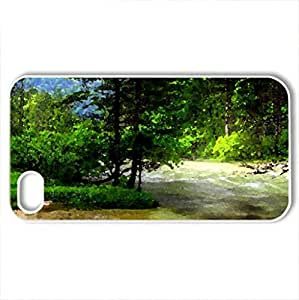 beautiful rapid river in a forest - Case Cover for iPhone 4 and 4s (Rivers Series, Watercolor style, White)