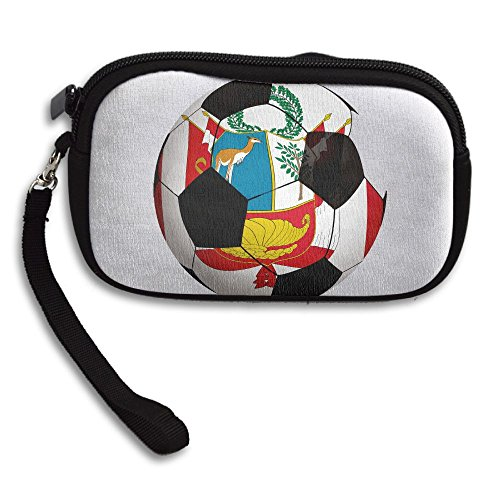 Portable Soccer Purse Printing Black Flag World Peru Bag Receiving Deluxe Small xwU6fS0qd