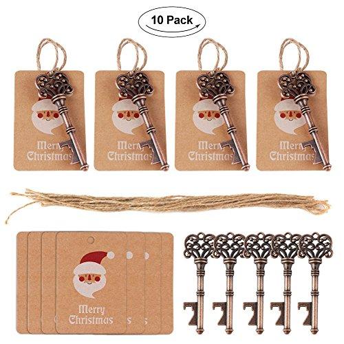 Yalulu 10pcs Holiday Greeting Cards Key Bottle Opener Santa Pendant Decoration Hanging Ornaments Drop for Xmas Party Christmas Tree Decorations ()