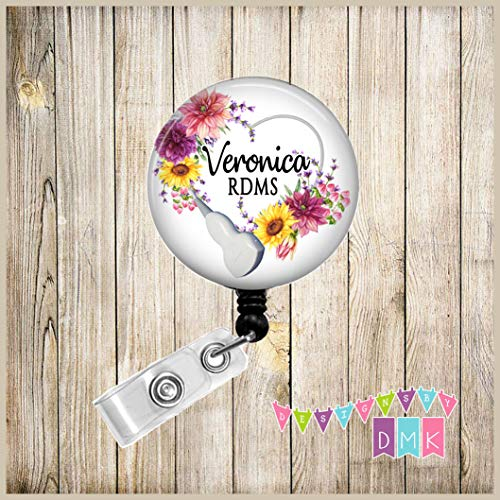 Transducer Floral Heart - Sunflowers & Dahlias on White - Ultrasound - PERSONALIZED - Button Badge Reel