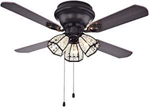 Warehouse of Tiffany CFL-8173AB Tarudor Dark Wood Antique Bronze Crystal Fan
