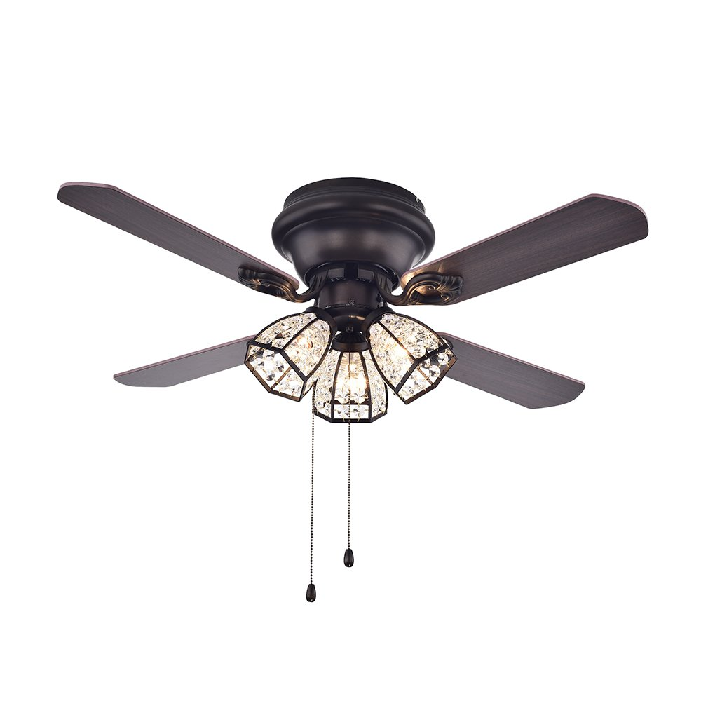Warehouse of Tiffany CFL-8173AB Tarudor Dark Wood Antique Bronze Crystal Fan by Warehouse of Tiffany