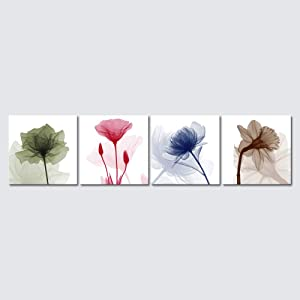 Wieco Art Flickering Flowers Canvas Prints Wall Art Large Modern Abstract Floral Giclee Pictures Paintings for Living Room Bedroom Home Decorations 4 Piece Stretched and Framed Artwork Ready to Hang