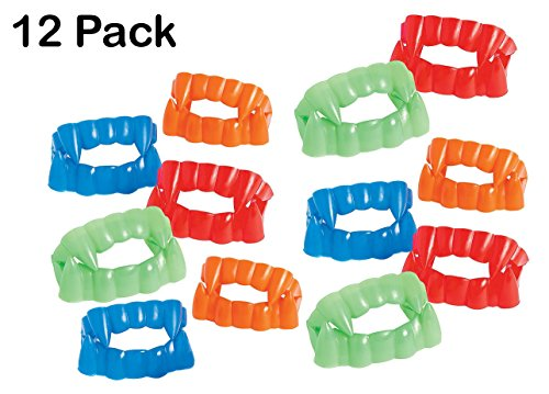Bright Color Vampire Teeth Plastic - Pack Of 12 - 2.5 X 1.75 Assorted Colors - Fun Cool Fangs Halloween, Cinco De Mayo - For Kids And Adults, Great Party Favors, Fun, Toy, Gift, Prize - By Kidsco