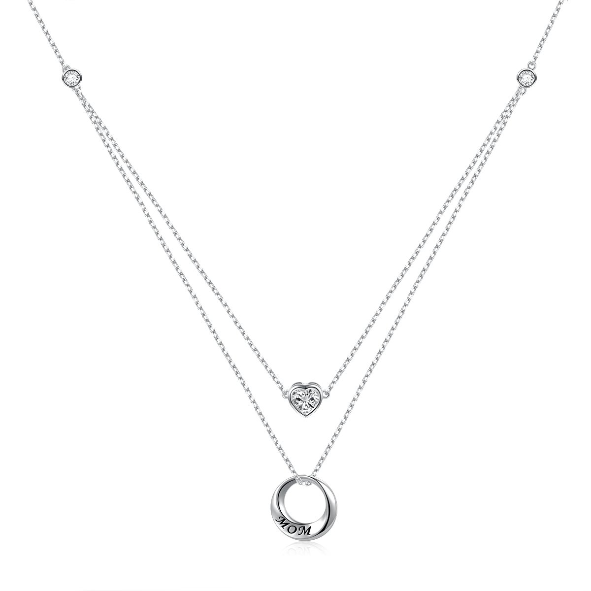 ATHENAA S925 Sterling Silver I love you Mom Double Chain,Love Heart Necklace