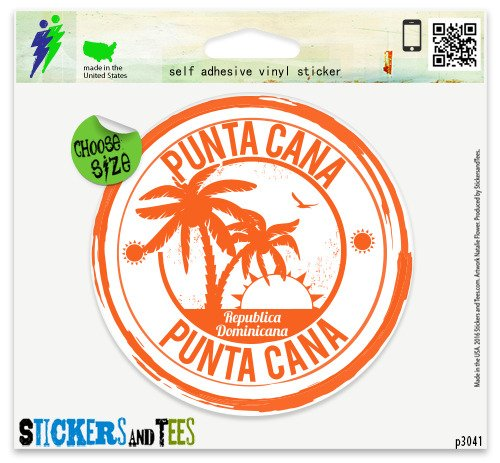(Punta Cana Dominican Republic Travel Stamp Vinyl Car Bumper Window Sticker 2