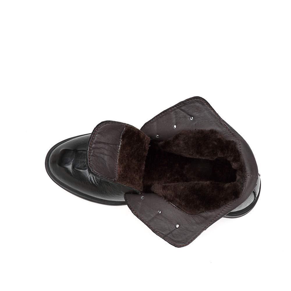 FuweiEncore Herren Stiefeletten, Casual Grade Crocodile Print OX Leder High Top Formale Schuhe (warme Velvet optional) (Farbe   Warm schwarz, Größe   45 EU) (Farbe   Wie Gezeigt, Größe   Einheitsgröße)