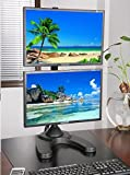 EZM Vertical Dual LCD Monitor Mount Stand Freestanding with Grommet Mount Option up to 27