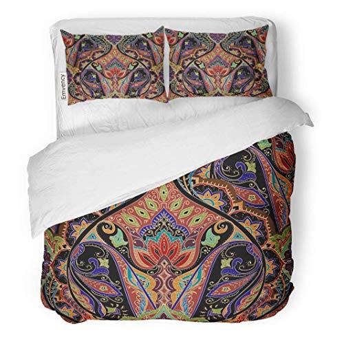 Tarolo Bedding Duvet Cover Set Indian India Paisley Pattern Border Bohemian Floral Ethnic Classic Elegant 3 Piece King 104