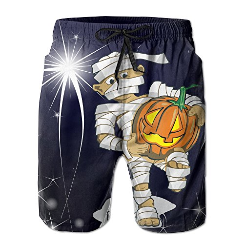 Mayan Costume Black Flag (Boy In A Halloween Costume With A Pumpking Men Beach Shorts Swim Trunks Household Pants With Pockets For Surfing)