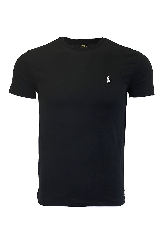 38f50e87 Polo Ralph Lauren Men's Crew-neck T-shirt (Large, Black (White Pony))