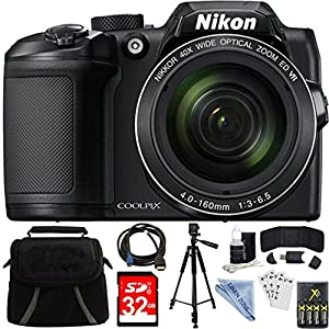 Nikon COOLPIX B500 Black 16MP 40x Optical Zoom Digital Camera 32GB Bundle includes Camera, Bag, 32GB Memory Card, Reader, Wallet, AA Batteries + Charger, HDMI Cable, Tripod, Linen zone Cloth and More by LINEN ZONE