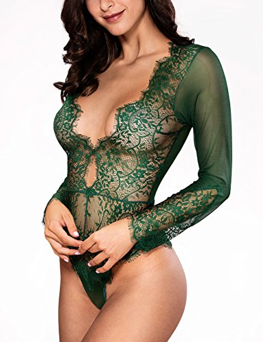 5a19afe8685 Women Sexy Lingerie Long Sleeve Bodysuit Lace Deep V Bodysuit Lingerie  Sheer Teddy Lingerie Emerald Green
