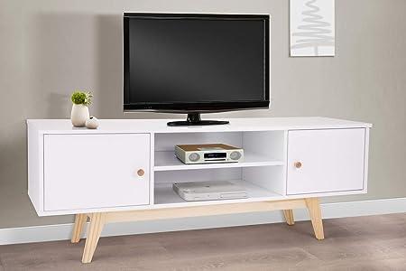 P N Homewares Meuble Tv Style Scandinave Blanc Pieds En