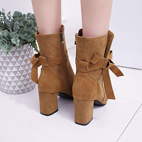 Solid 2 5 High Shoes Ankle Women 6 Platform Size Footwear Shoes Round Ladies Boot Bow BaZhaHei Boots Brown Zipper Heels Toe Boots Short Casual wRxXF155Tq