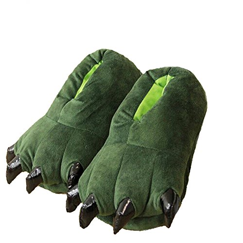 Moda Unisex Morbido Peluche Casa Pantofole Animale Zampa Zampa Scarpe Verde
