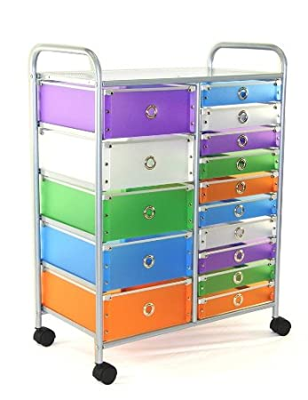 27u0026quot;w 15 Drawer Rolling Storage Unit With Multi Colored Drawers (4dcon