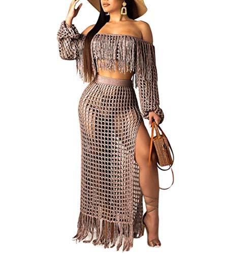 Women Two Piece Skirt Set - Tassel Hollow Out Off Shoulder High Split Cover Up Bikini Beach Dresses Brown S