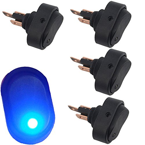 12V 30A Waterproof LED Light On/OFF Car Boat Marine Auto Motorcycle 3P Rocker SPST Toggle Switch,Pack of 4 (Blue)