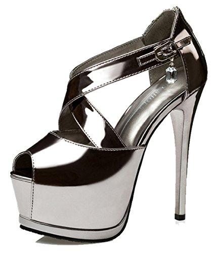Aisun Women's Sexy Burnished Ankle Buckle Straps Zipper Peep Toe Platform High Stiletto Heel Sandals Gun