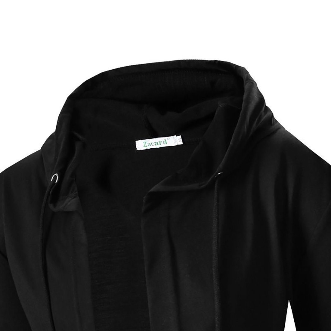 Comeon Men's Black Hooded Cardigan Cool Long Length Large Open Lightweight Cape Cloak Coat Drape Cardigans Hoodie (Black,US XL/Asian 2XL) by Comeon (Image #5)