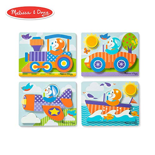 Melissa & Doug First Play Vehicles Wooden Chunky Jigsaw Puzzle Set (4-Pack, 5-6 Pieces)