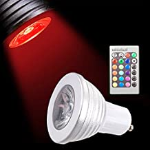 Sunix® 5W GU10 RGB LED Bulbs, 16 Colors Choices, Color Changing, 24 Key Remote Controller Included, Mood Lighting For Home Party Decoration, Hotels, clubs, shopping malls etc