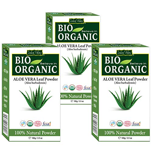 Indus Valley Bio Organic 100% Natural Aloe vera Leaf Powder (Aloe Barbaensis) For Skin And Hair Care Set of 3 (100X3=300…