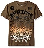 Southpole Big Boys' Short Sleeve Flock All Over Graphic Tee with Logo, Olive, Medium