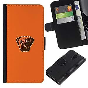 Bulldog fresca enojado - la tarjeta de Crédito Slots PU Funda de cuero Monedero caso cubierta de piel Para Samsung Galaxy S4 IV I9500