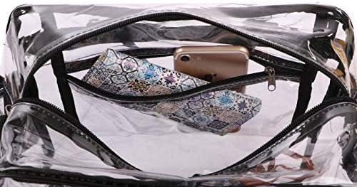 クリアクロスボディメッセンジャートートバッグ - スタジアム承認 透明プラスチック財布 NFL旅行、レディースメイクアップ、ランチ、ノートパソコン、ビーチジム用|取り外し可能ショルダーストラップ|ジッパーポーチ&キーリングポケット