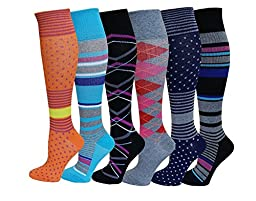 6 Pairs Pack Women Sports , Travelers , Anti-Fatigue , Graduated Compression Knee High Socks 9-11 (New Assorted Design)