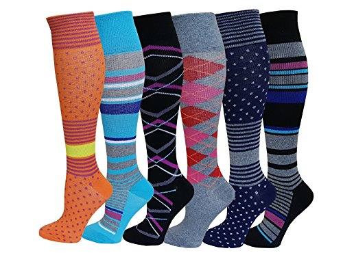 6 Pairs Pack Mild ( 8-15 mm Hg ) Sports , Travelers , Anti-Fatigue , Graduated Compression Knee High Socks 9-11 (Assorted Printed)