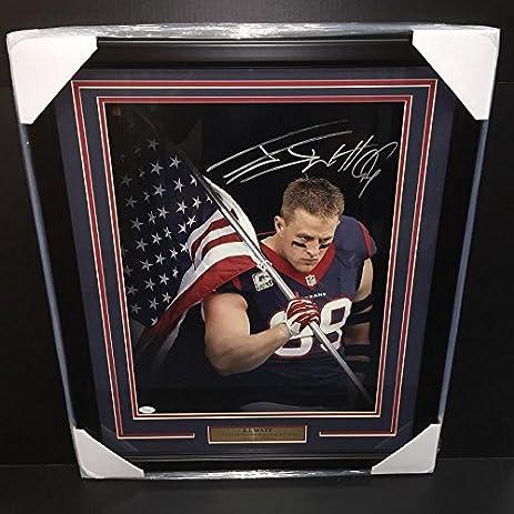 Autographed J.J. Watt Picture - Jj Flag Framed 16x20 Coa - JSA ...