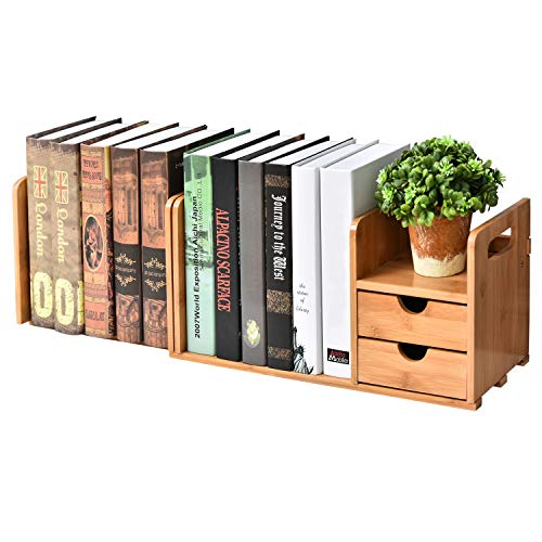 - 2-Drawer Natural Bamboo Wood Desk Organizer Storage Station w/Expandable Bookshelf