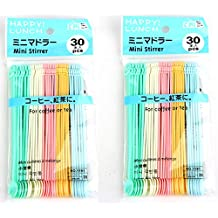 Arbor Home Mini Food Grade Plastic Coffee Tea Beverage Stirrers Spoon Colorful Disposable Sticks Bar Tool 60 Counts Pack Of 2 Bags