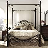 Modern LeAnn Graceful Scroll Iron Metal King-sized Canopy Poster Bed