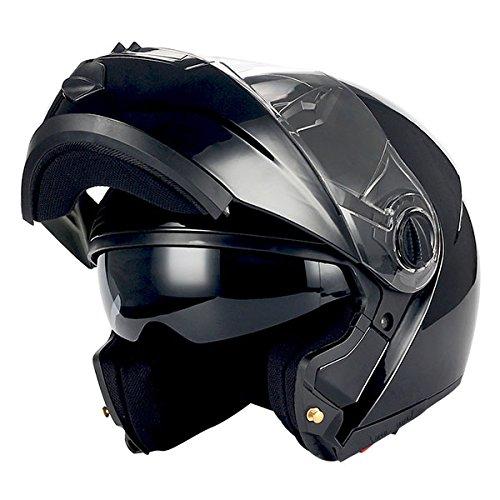 1Storm Commander Motorcycle Modular Full Face Helmet Flip up Dual Visor/Sun Shield; Glossy Black ()