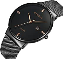 Mens Watches Analog Quartz Casual Stainless Wrist Watch with Black Milanese Mesh Band and Date Window