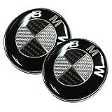2pcs Replacement Carbon Fiber BMW Emblem 82mm For Front Hood Back Trunk logo Badge (Black)