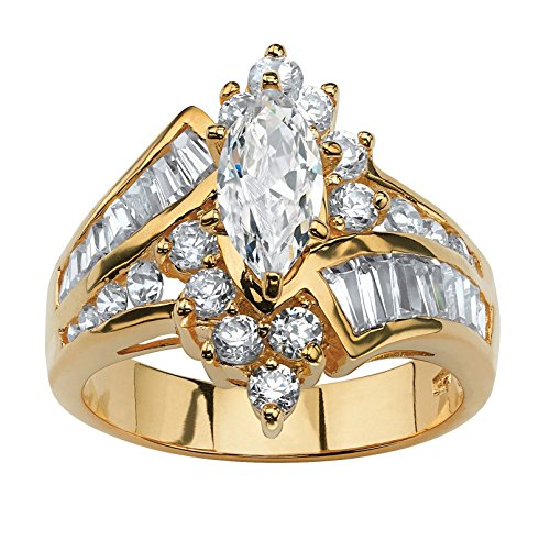 (18K Yellow Gold over Sterling Silver Marquise Shaped Cubic Zirconia Engagement Ring)