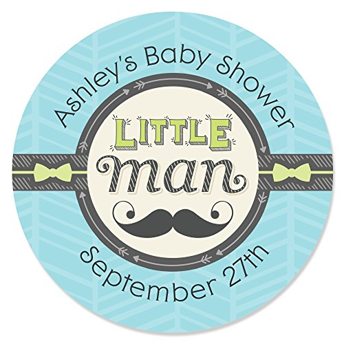 Custom Dashing Little Man - Personalized Mustache Themed Baby Shower or Birthday Party Favor Circle Sticker Labels - Set of 24