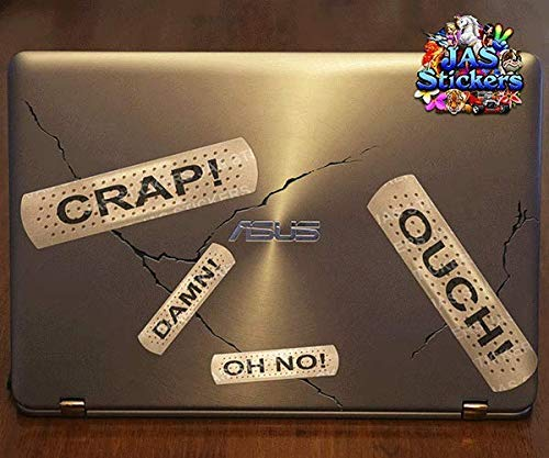 ST012TX/_1 Text Joke Scratch Dent Cover Small Vinyl Sticker Pack Bicycle Laptop Motorbike Boat Caravan JAS Stickers/® BAND AID FUNNY Car Decal