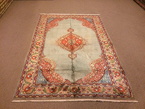 Medallion Silk Rug - 4.9x7.2 Feet Soft Orange And Turquoise Rug Medallion Design Silk On Cotton Rug Handmade Rug Kitchen Bedroom Living Room Carpet Area Rug.Code:F596