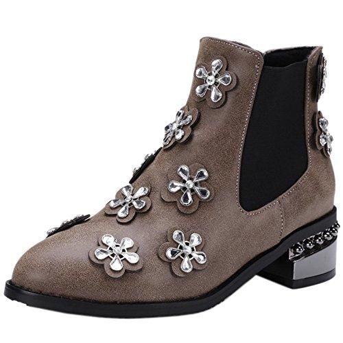 COOLCEPT Ladies Comfort Low Heel Chelsea Boots Winter Short Boots With Rhinestones Brown