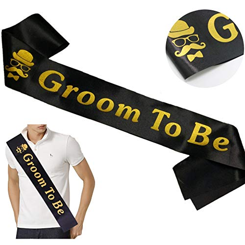 Groom Sash Bachelor Party Stag Night Engagement Celebration Supplies Favors, Wedding Gift from Bride, Best Man or Groomsmen -Groom to Be Black and Gold Satin Sash - 1 pc