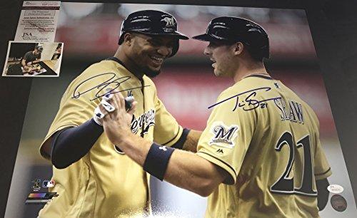 Travis Shaw and Domingo Santana Milwaukee Brewers Autographed Signed 16x20 JSA WITNESS COA Travis Shaw