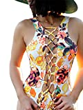 Sexy Women One Piece Swimsuit Push up Padded Monokini Vintage Floral Bikini Swimming Bathing Wear UPS Post (Small, Floral #2)